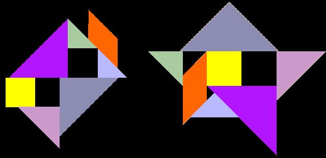 趣题 用一副七巧板拼出带有三个洞的图形