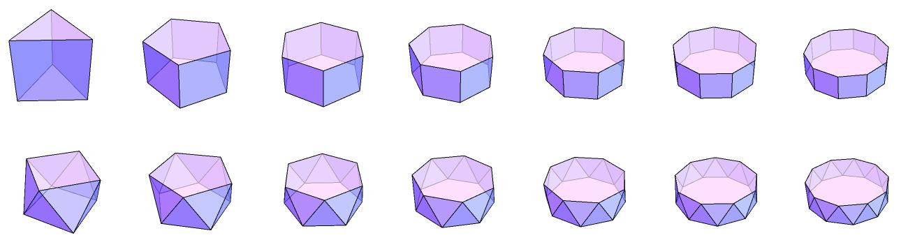 这里面有很多图形想必大家都会非常熟悉。第一行的第一个图形,其实就是刚才那三个代表中最右边的图形,也就是 Wenzel Jamnitzer 的作品中右上角的那个图形,是去掉正方体的八个角得来的。对正方体进行去角操作后,原来的每个角都变成了一个等边三角形,原来的每个面都只剩一个内接的小正方形,最终得到的正是第一行的第一个 Archimedean 体。不过,有一件事情刚才我们没说:这个图形同样也可以看作是对正八面体进行去角操作得来的。原来的每个角都会变成一个正方形,原来的每个面都只剩下一个内接的小等边三角形,